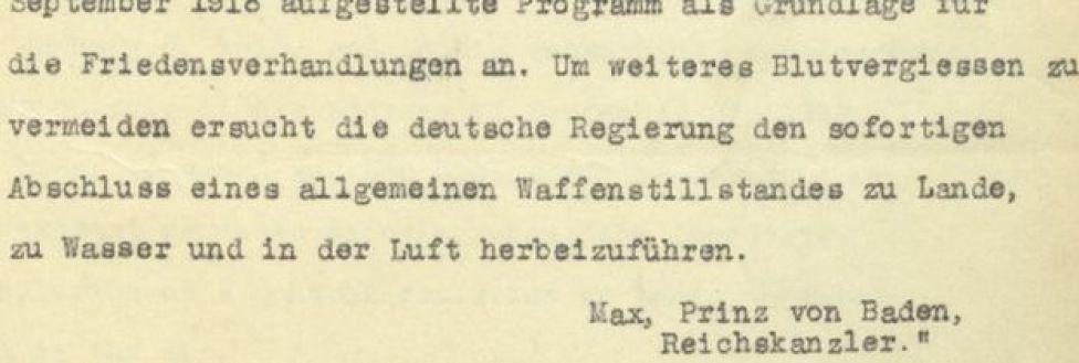Carta del príncipe Maximiliano de Baden al presidente Wilson.