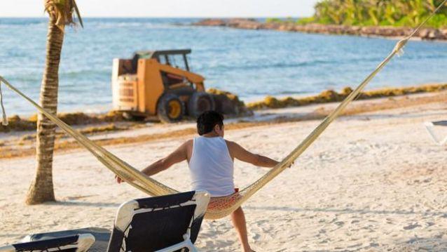 Homem sentado em rede armada em uma praia invadida por sargaço, no Caribe, em 2015