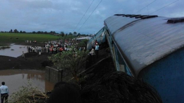 The scene of the train crash in Madhya Pradesh