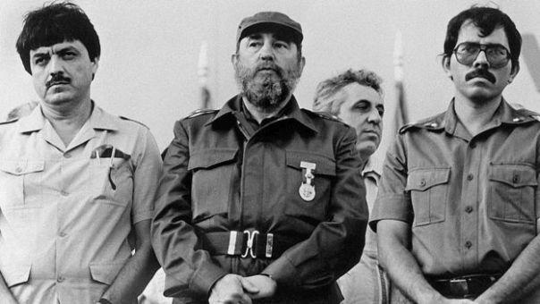 Sergio Ramírez, Fidel Castro y Daniel Ortega en 1985.