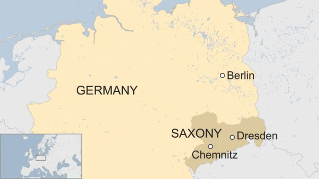 Map of Germany showing eastern state of Saxony