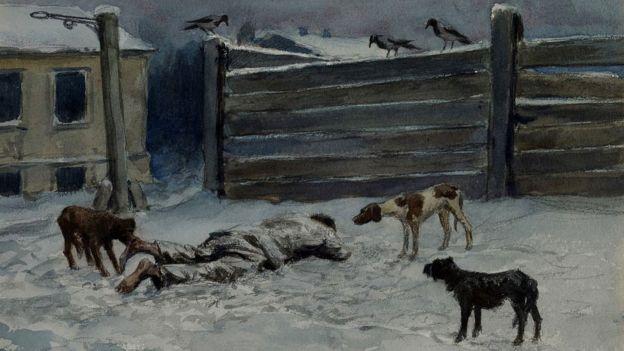 Quadro mostra homem morto na neve