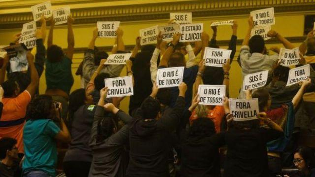 Protesto contra Crivella na Alerj em 2018