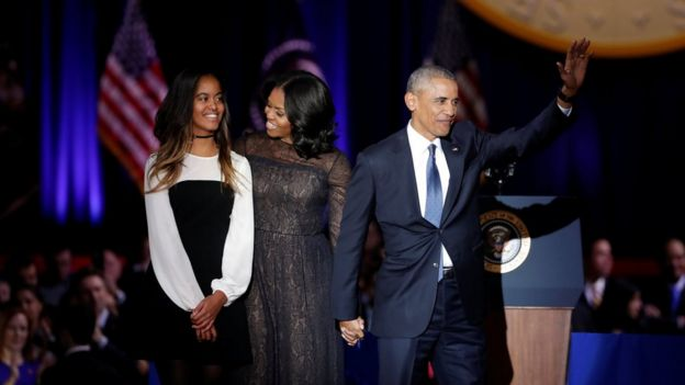 U.S. President Barack Obama his wife Michelle and their daughter Melia acknowledge the crowd after President Obama delivered a farewell address at McCormick Place in Chicago, Illinois, U.S. January 10, 201