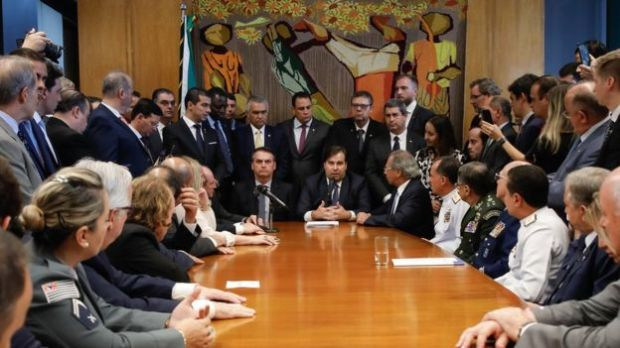 Jair Bolsonaro, Paulo Guedes e Rodrigo Maia em reunião em Brasília