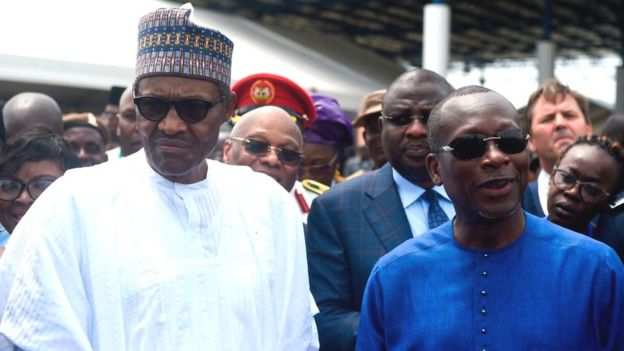 Presidents Muhammadu Buhari and Patrice Talon
