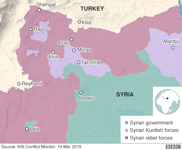 Map showing control of Afrin on 19 March 2018