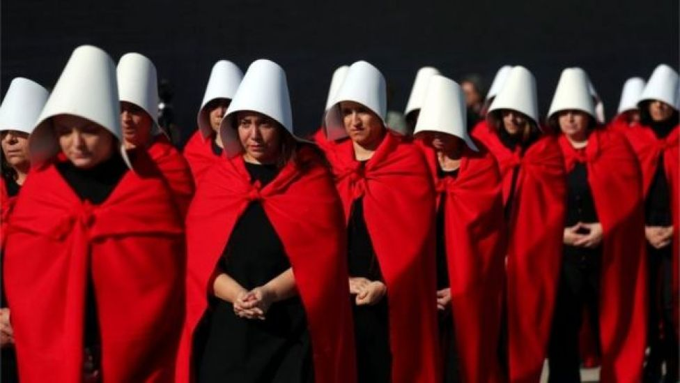 "Activists dressed up as characters from ""The Handmaid's Tale"" take part in a demonstration in favour of legalising abortion in Buenos Aires, Argentina, August 5, 2018"