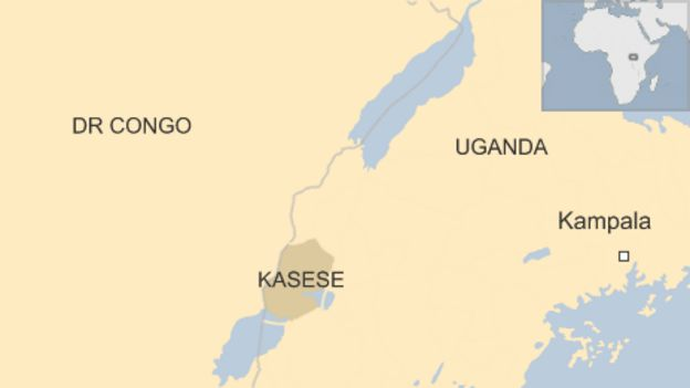 Map showing Kasese district straddling Uganda and DR Congo borders