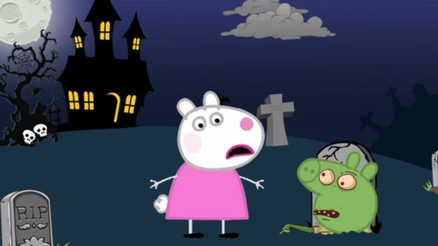 Peppa la cerdita en un cementerio zombie
