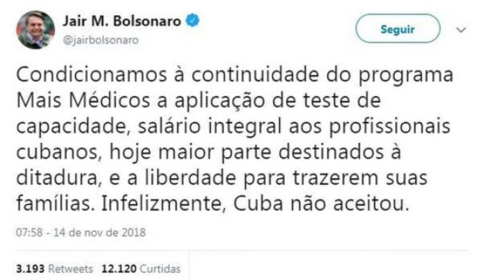Post de Bolsonaro no Twitter