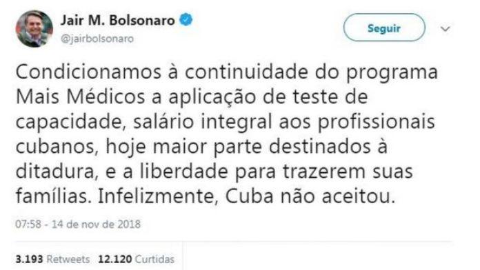Post de Bolsonaro no Twitter