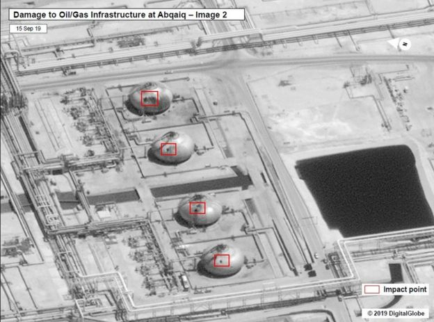 Damage shown on oil and gas infrastructure at Abqaiq in Saudi Arabia