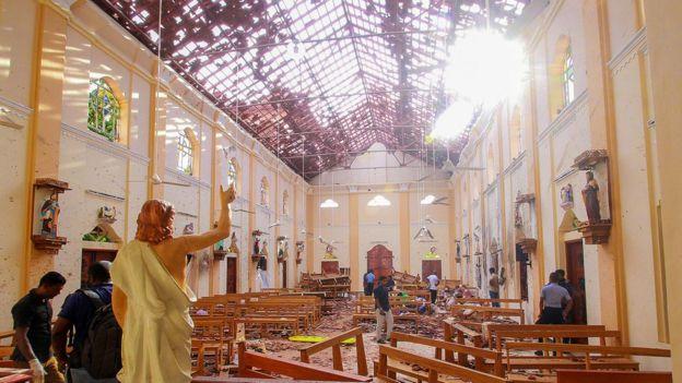 Blast damage at St Sebastian's Church in Negombo