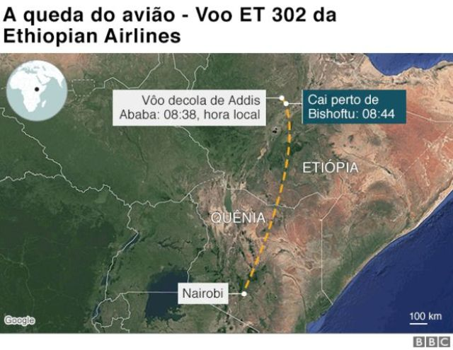 Mapa mostra local onde o avião da Ethiopian Airlines caiu