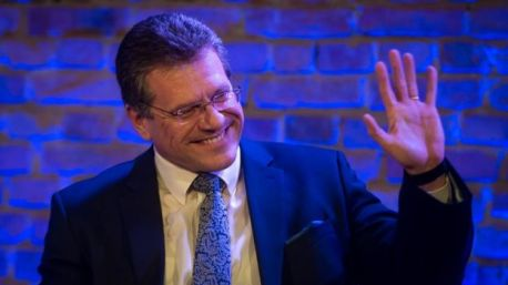 Presidential elections in Slovakia, Maros Sefcovic, takes part in a public debate organised by Slovak daily Dennik N in Bratislava, 11 March 2019