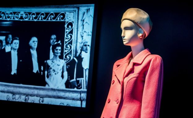A pink 1959 wool coat made by Hubert de Givenchy for US First Lady Jacqueline Kennedy on show in a Paris exhibition