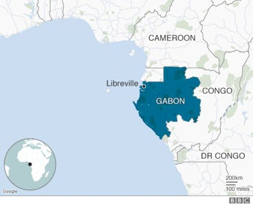 Map showing location of Gabon