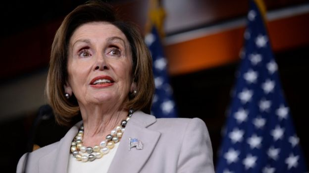 US House Speaker Nancy Pelosi speaks during a news conference on Capitol Hill on 17 October