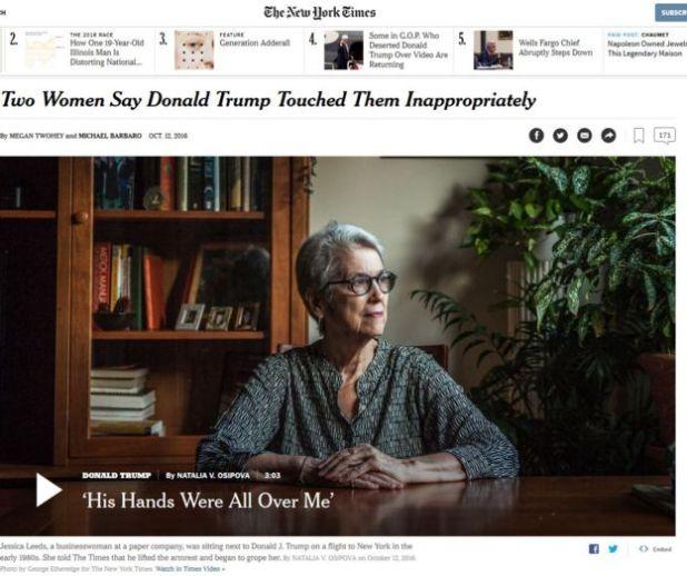 The New York Times entrevistó a dos mujeres que aseguran que Trump las agredió sexualmente.