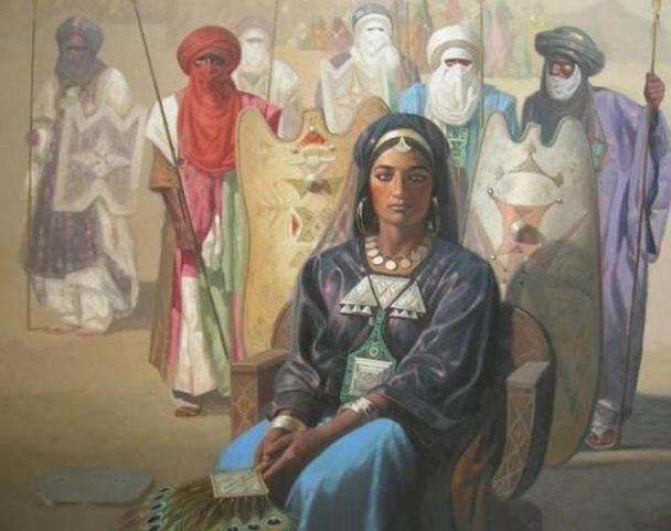 لوحة فنية تجسد عرش الملكة الأمازيغية تين هينان