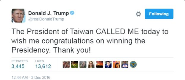 Tweet by Trump saying