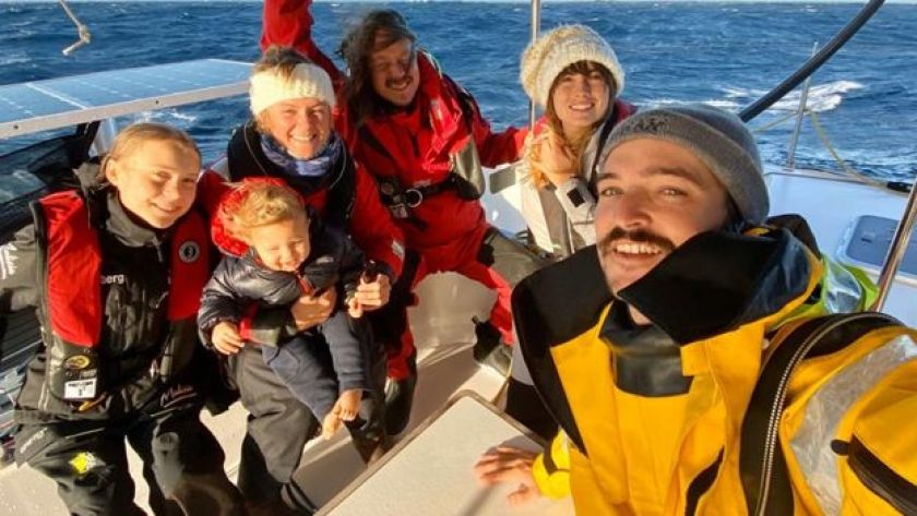 The crew who sailed Greta from the US to Europe