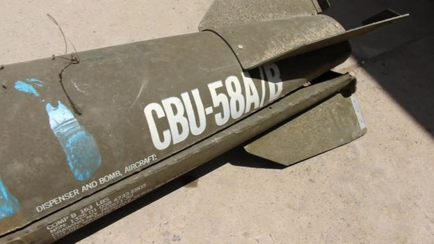 Cluster bomb allegedly dropped on Yemen by Saudi-led coalition