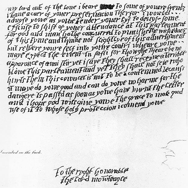 Carta anónima alertando al Lord Monteagle del peligro.