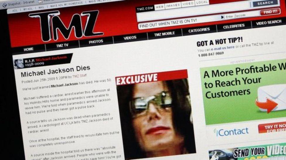 Screenshot of TMZ's Michael Jackson story