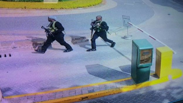 Still of two of the attackers caught on CCTV