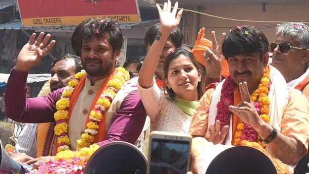Khesari Lal, Sapna Chaudhary and Manoj Tiwari