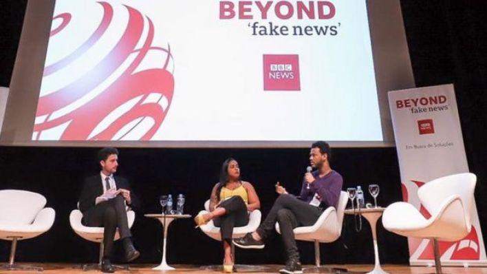Ricardo Senra, Lilia Melo e Rene Silva durante evendo da BBC