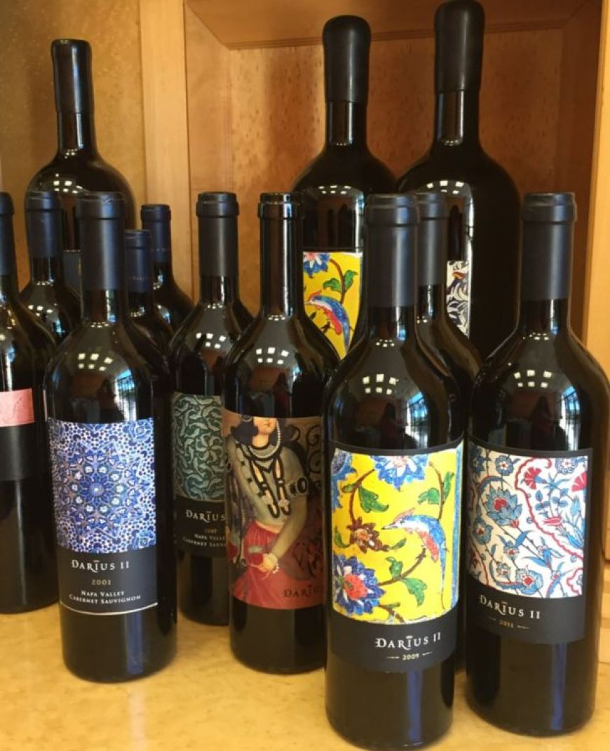 Bottles of Shiraz with ancient Persian designs