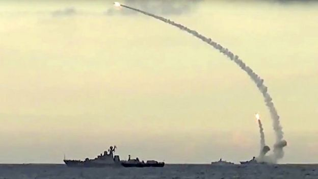Russian cruise missiles launched on 20 Nov 15 (pic: Russian Defence Ministry)