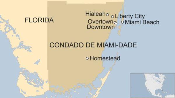Mapa del condado de Miami Dade