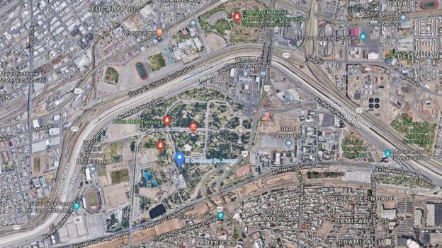 Un mapa de El Chamizal actual
