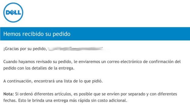 Notificación de recibo de pedido Dell