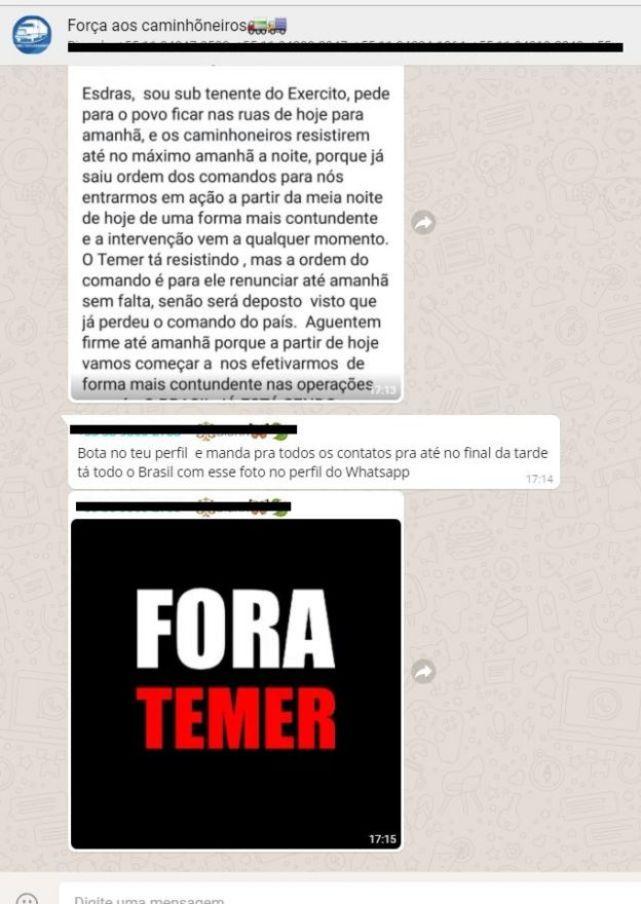 Reprodução de grupo de WhatsApp de caminhoneiros pedindo Fora Temer
