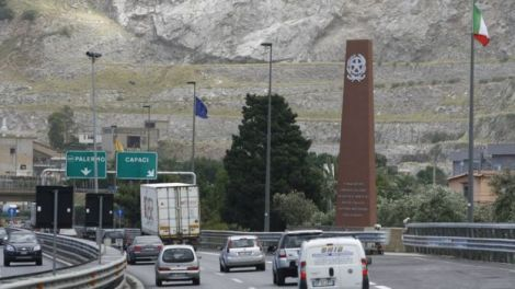 Memorial to Falcone on outskirts of Palermo, file pic