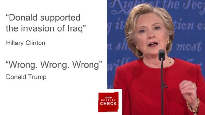 Hillary Clinton says Donald Trump supported the invasion of Iraq in 2003, but he denies that