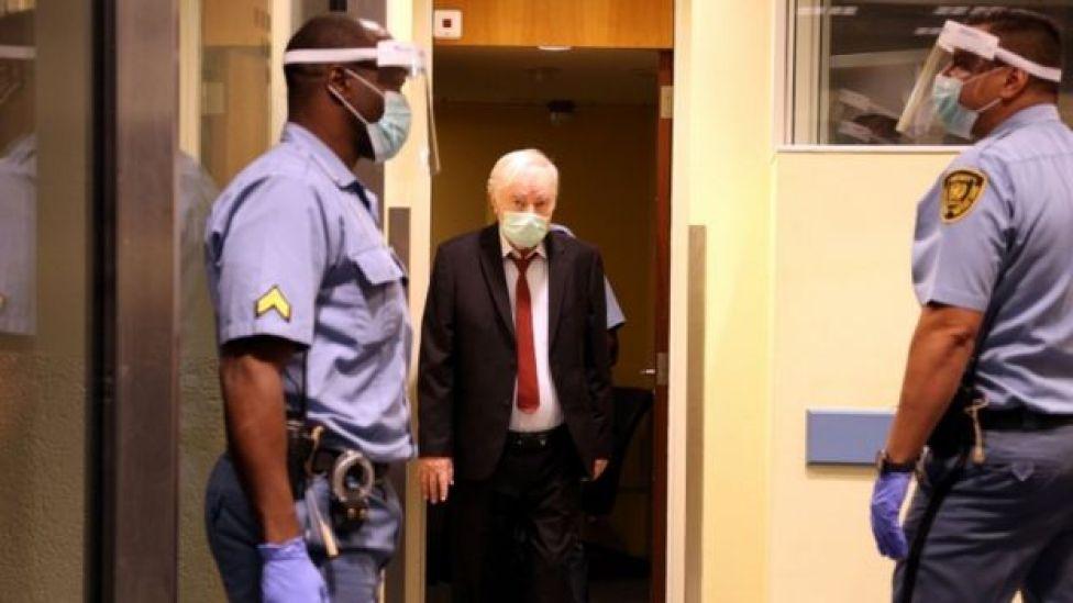 Former Bosnian Serb military leader Ratko Mladic arrives for his appeal hearing