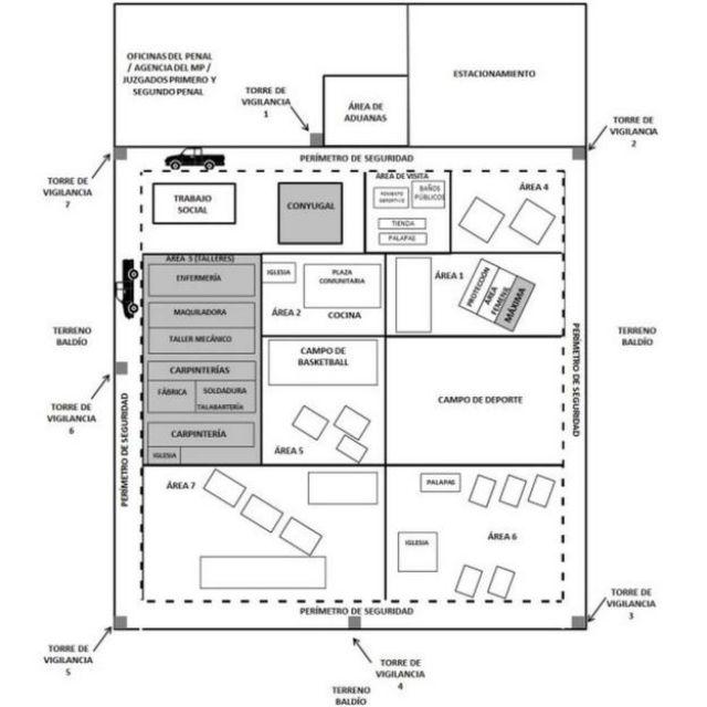 """Esquema del interior del Centro de Reinserción Social (Cereso) de Piedra Negras, en Coahuila, México, incluido en el informe """"El yugo Zeta""""."""