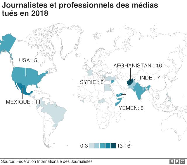 Carte des journalistes et professionnels des média tués en 2018
