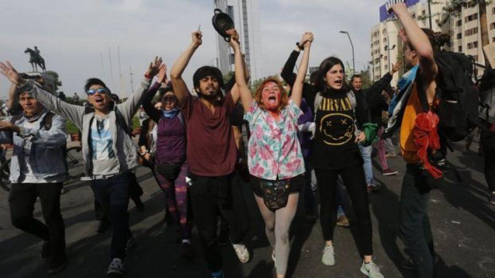 Protestas en Santiago de Chiler