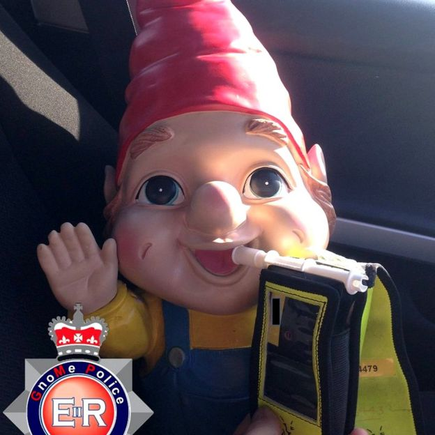 Gnorman the gnome takes a breath test