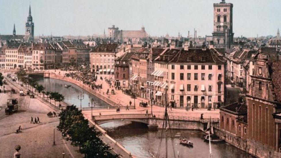 Foto de archivo de Copenhague en 1918.