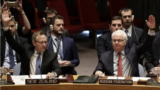 New Zealand ambassador to the UN, Gerard Jacobus van Bohemen (L) and Russian ambassador to UN, Vitaly Churkin (R) vote on a ceasefire in Syria at UN headquarters in New York, New York, USA, 31 December 2016.