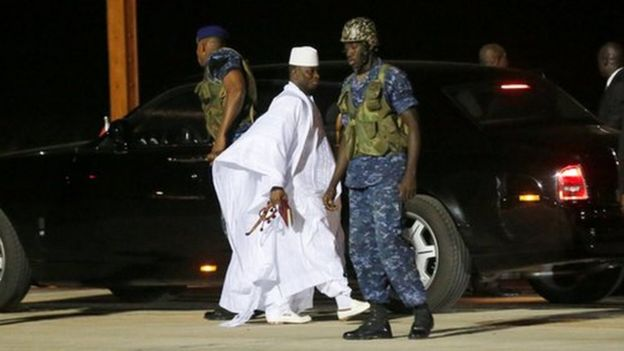 Former Gambian President Yahya Jammeh arrives at the airport before flying into exile from Gambia, January 21, 201