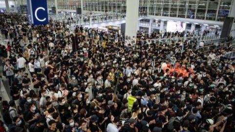 Anti-government protestors at Hong Kong's airport